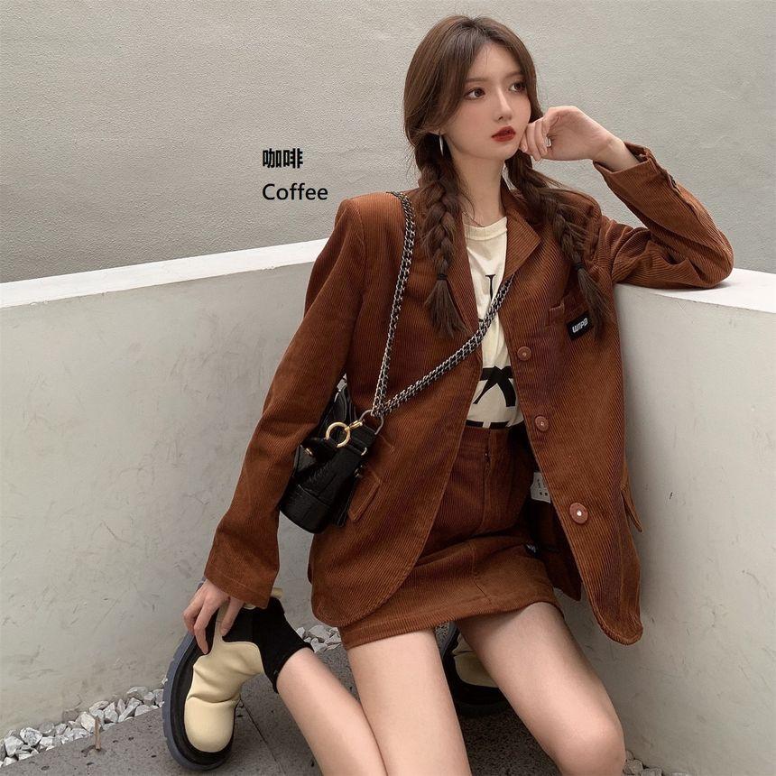 ASAW - Corduroy Single-Breasted Blazer / Corduroy Skirt