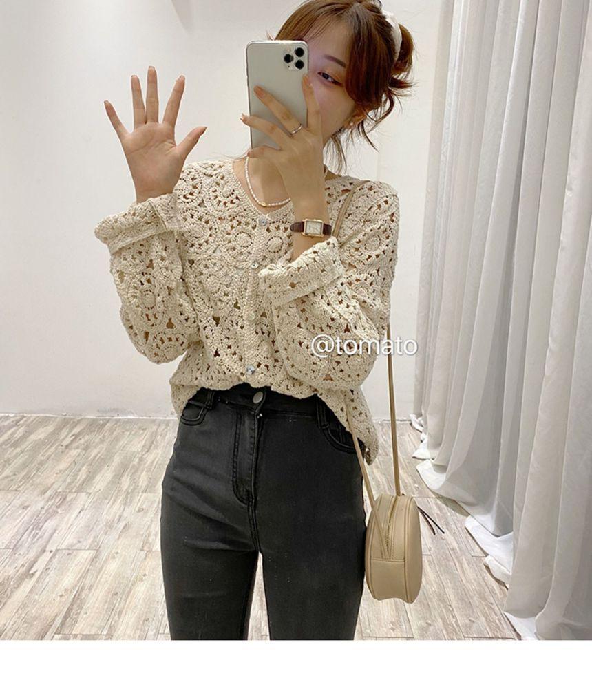 Lace Knit Long-Sleeve Cardigan