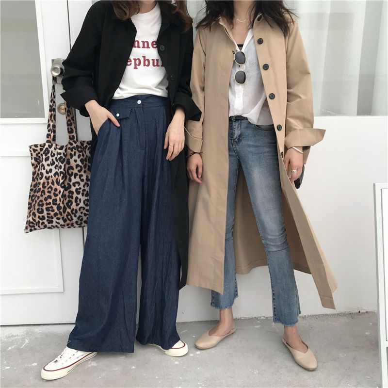 Moon City - Button-Up Long Trench Coat