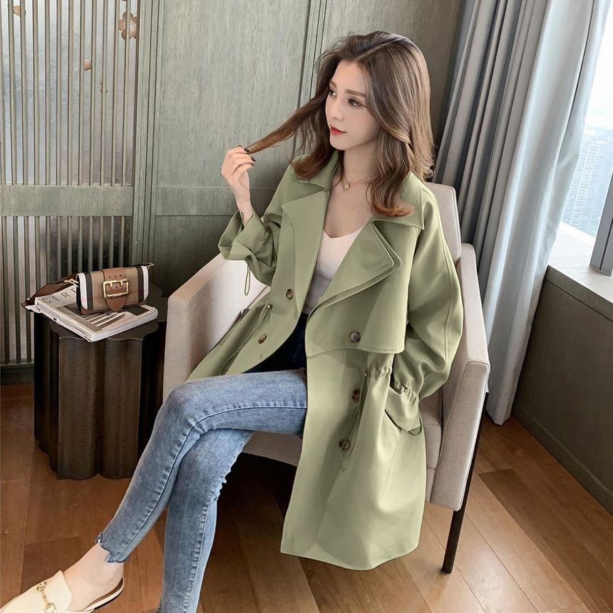 INEN - Double-Breasted Long Trench Coat