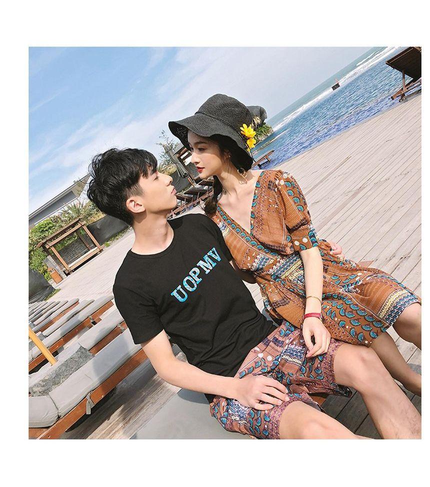 Couple Matching Patterned Short Sleeve Dress / Short Sleeve T-Shirt /  Patterned Shorts