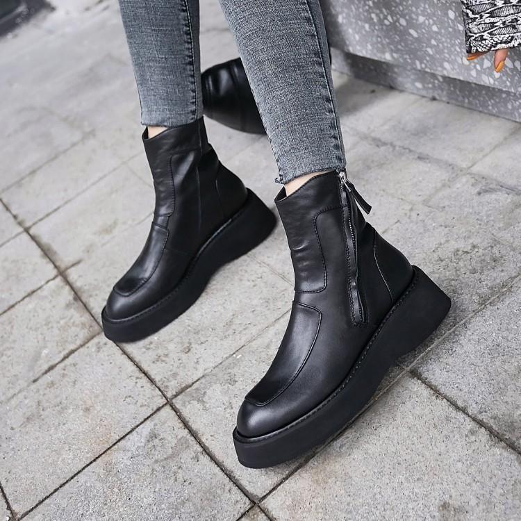 JY Shoes Faux Leather Zip-Up Platform