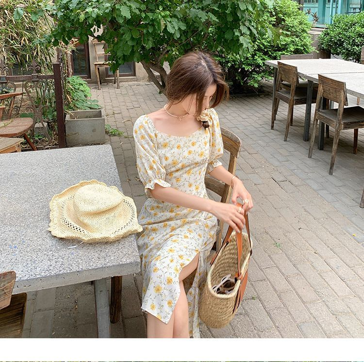 Mimihouse - Puff-Sleeve Floral Print Midi A-Line Dress