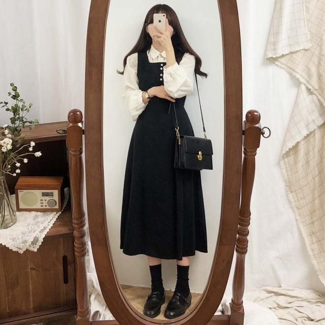 Leoom - Plain Long-Sleeve Blouse / Midi A-Line Pinafore Dress