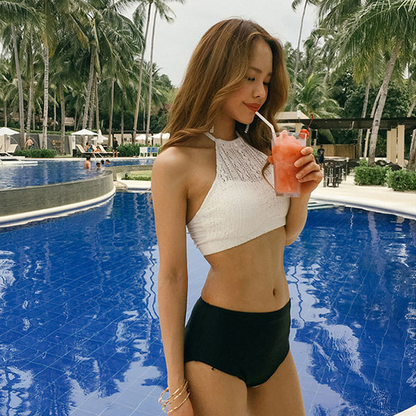 Blue Lagoon High-Neck Bikini | YesStyle