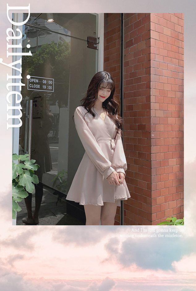 EFO - Tie-Waist Long-Sleeve A-Line Mini Dress
