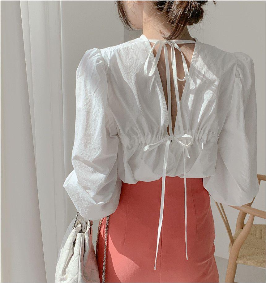 Long-Sleeve Plain Lace-Up Blouse