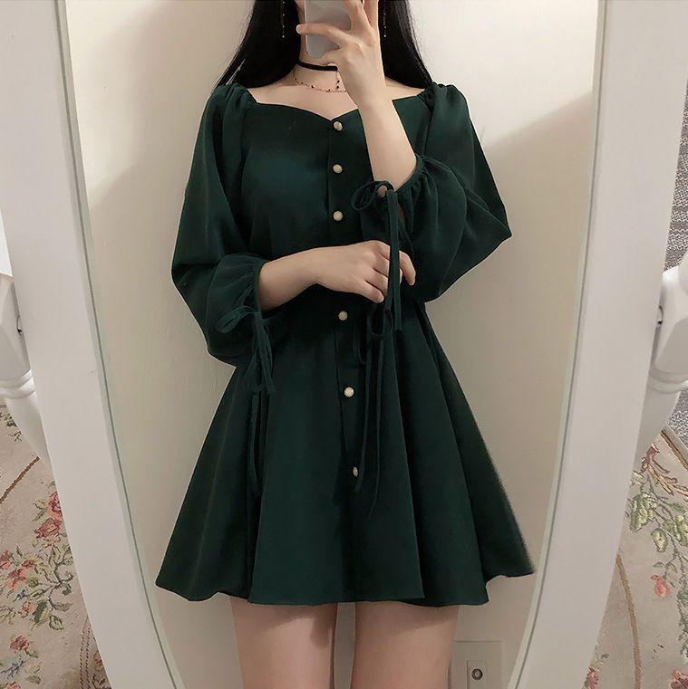 EFO - Buttoned Sweetheart Neckline A-Line Mini Dress