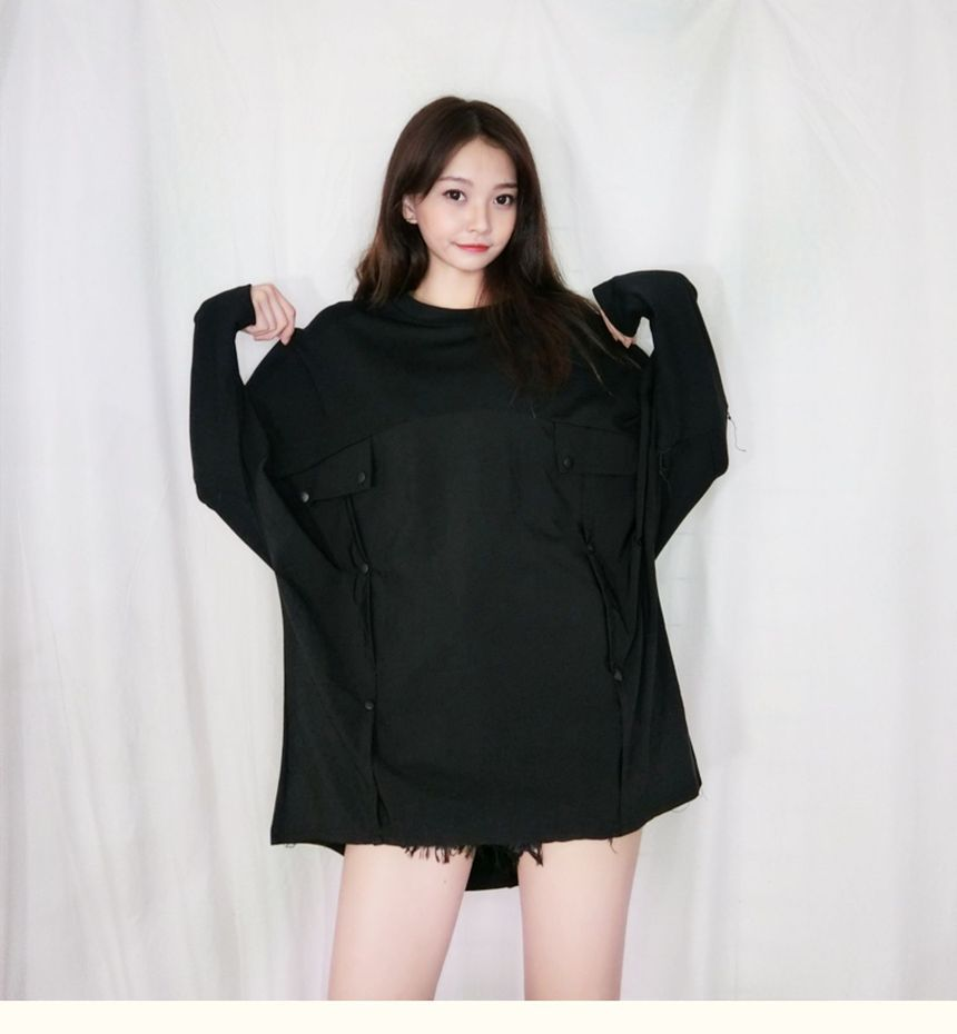 Long-Sleeve Buttoned Loose-Fit Top