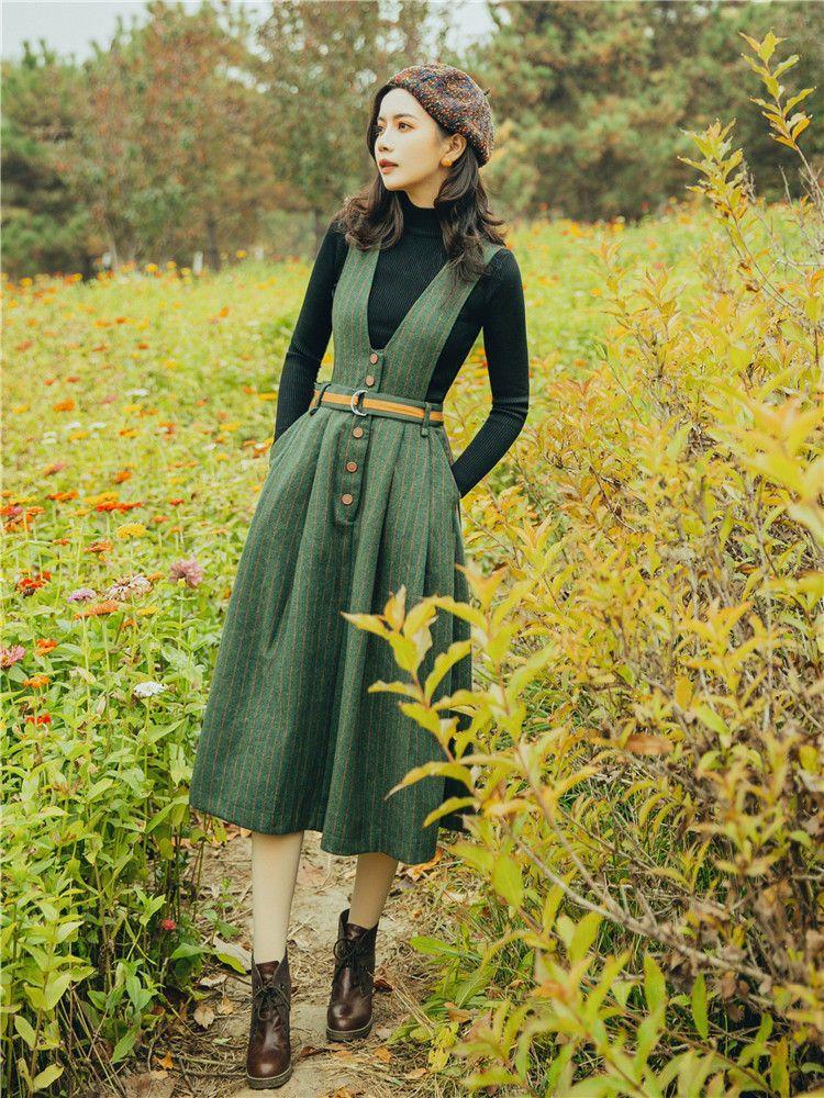 Set: Mock Neck Knit Top + V Neck Striped Belted Pinafore Dress