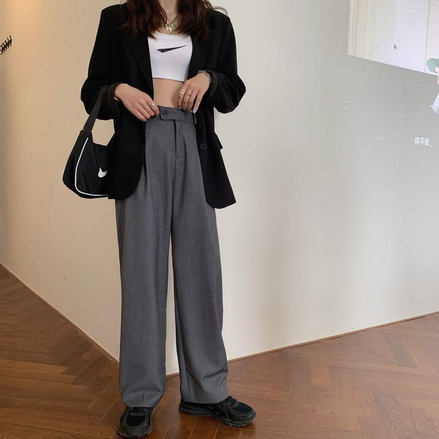 Moon City - High-Waist Straight-Fit Dress Pants